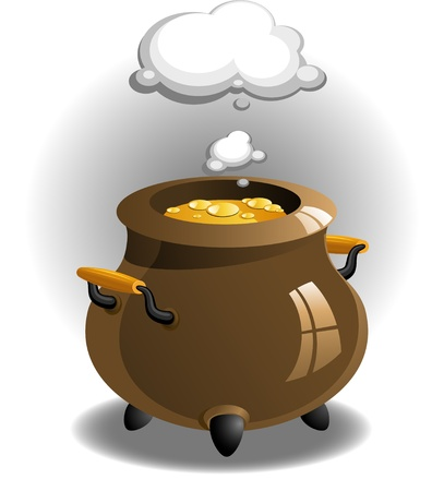 boiling pot: Pot of brew over white.