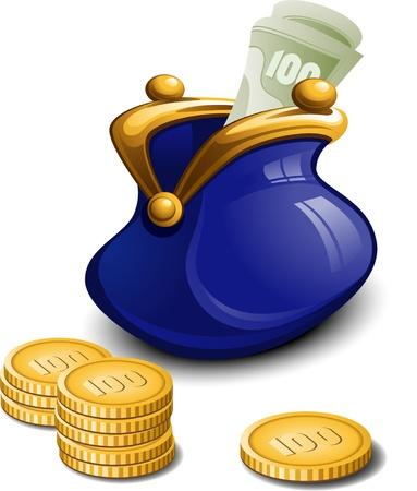 expenses: Bolso azul con dinero en blanco. EPS 8