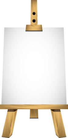 Easel with a blank sheet of white paper for your image or text. Isolated.
