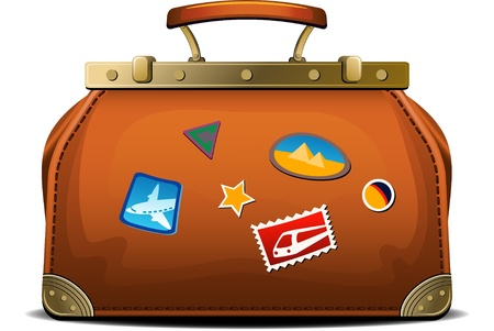 Old-fashioned travel bag (valise) over white. EPS 8 Vector