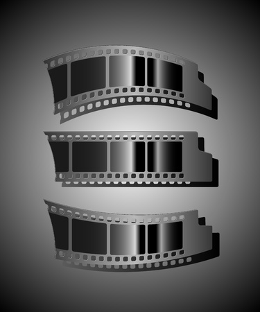 Set of three Film strips. EPS 8 Vector