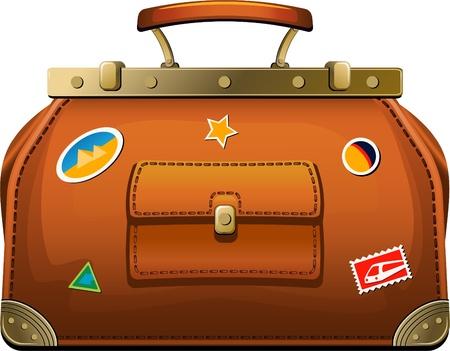 valise: Old-fashioned travel bag (valise) over white. EPS 8 Illustration