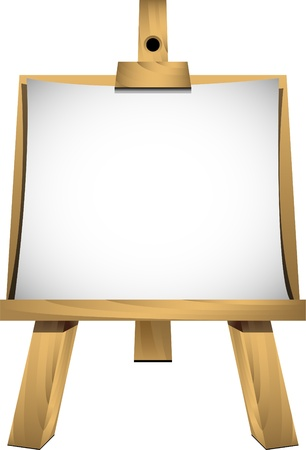 Easel with a blank sheet of white paper for your image or text. Isolated. EPS 8 Vector