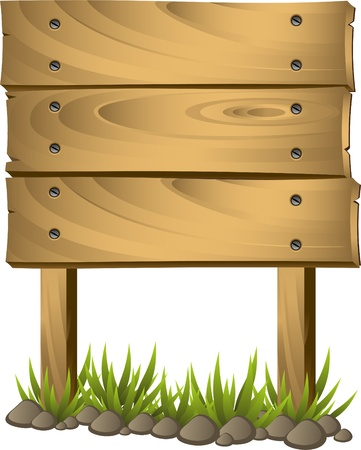 Wooden signboard over white. EPS 8 Illustration
