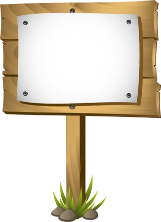 wooden signboard: Wooden signboard over white. EPS 8 Illustration