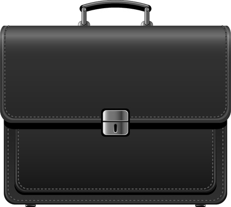 black briefcase: Malet�n negro sobre blanco. EPS 8 Vectores