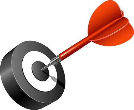 Red dart hitting the target. Over white. Stock Vector - 9716489