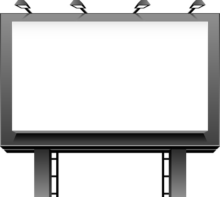 outdoor advertising construction: Advertising Billboard isolated over white. Illustration