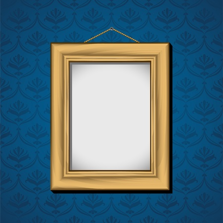 Photoframe hanging on the wall with blue wallpaper. Vector