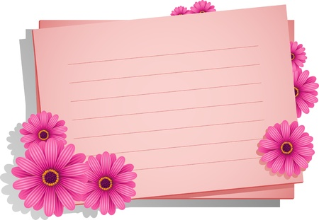 Pink flowers with a card for your text over white.