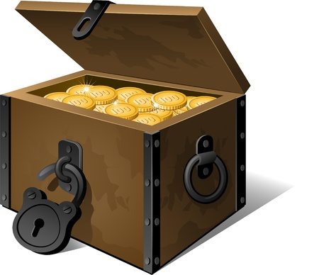 coin box: Chest full of gold coins isolated on white.
