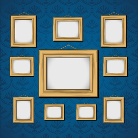 Picture Frames On Blue Wall.