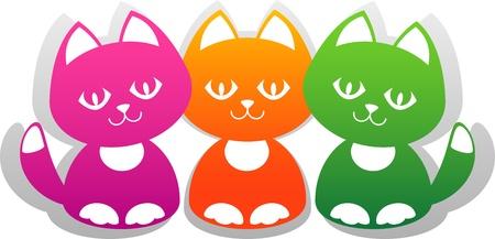 three objects: Three cute cartoon kitten isolated on white. EPS 8