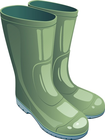 Green rubber boots over white. EPS 8