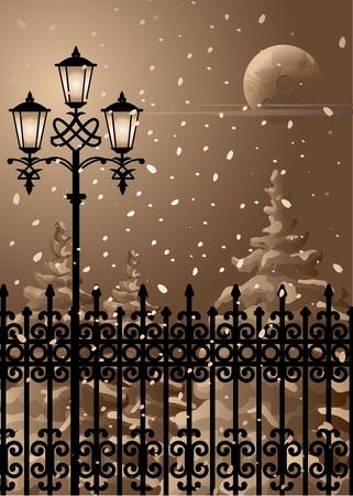 fence park: Winter evening.