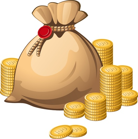 richness: Money bag isolated over white. EPS 8 Illustration