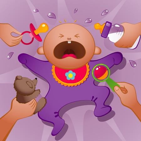 bambino che piange: Illustrazione vettoriale di piangere bambino. EPS 8 Vettoriali