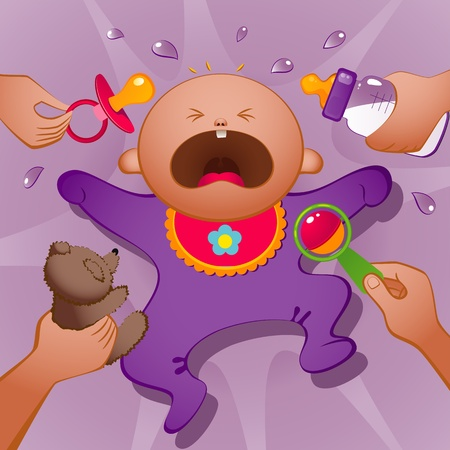Vector illustration of crying baby. EPS 8 Vector