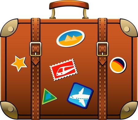 Koffer geà ¯ soleerd dan wit. Vector Illustratie