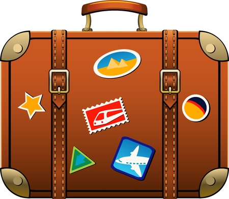 reise retro: Suitcase isoliert über weiß.