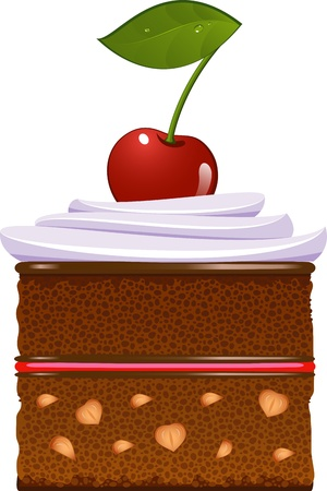 walnut cake: Chocolate cake with whipped cream and a cherry. Isolated over white. EPS 8 Illustration