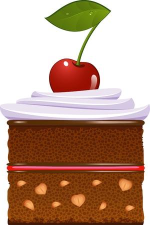 Schokoladentorte mit Schlagsahne und einer Kirsche. Isolierte über weißem. EPS 8