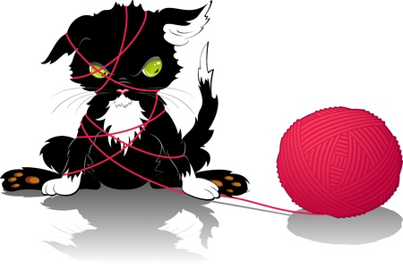 kitten with a ball of thread. eps 8 Illustration