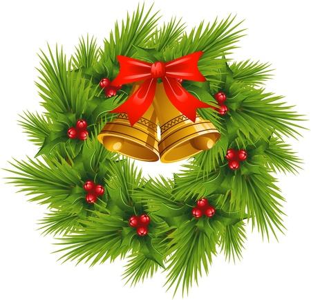 Christmas Wreath over white