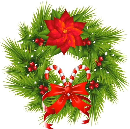 Christmas Wreath over white. EPS 8 Vector
