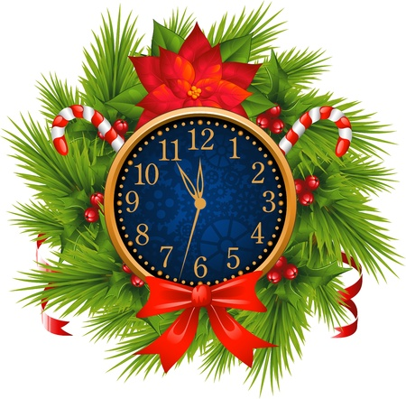 fin de a�o: Watch decorado guirnalda de Navidad (A�o Nuevo) sobre fondo blanco. EPS 8
