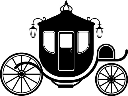 brougham: Carriage in Silhouette over white. EPS 8