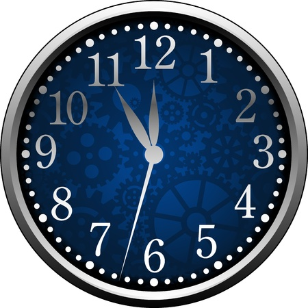 Vector clock isolated over white.