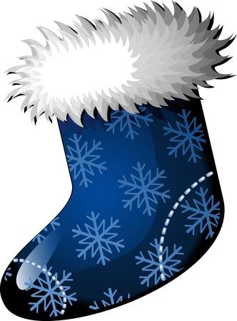 Blue Christmas stocking over white.