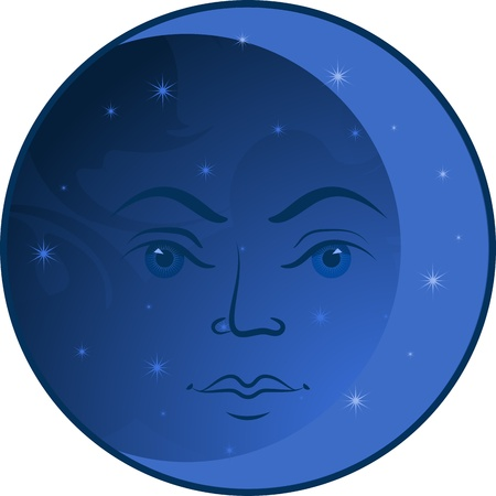 Face of the Moon. Isolated over white. EPS 10 Vector