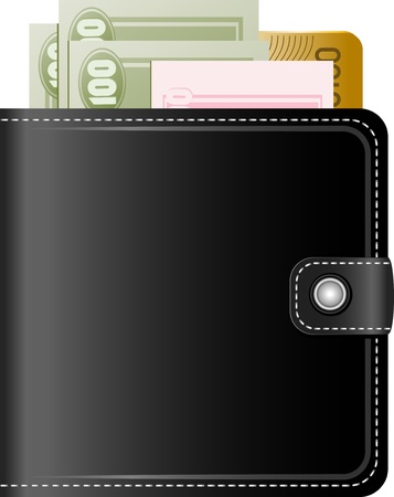 Wallet with money on a white background, EPS