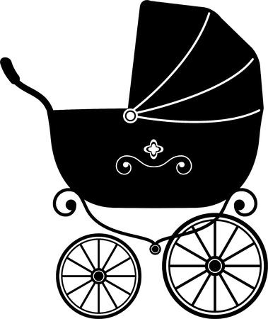 Poussette bébé sur fond blanc (Silhouette) Vecteurs