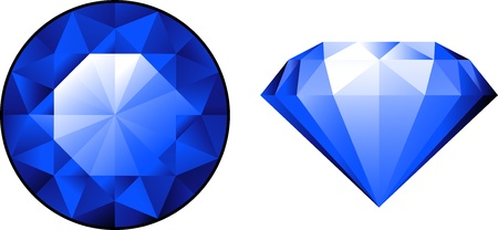 Sapphire from two perspectives over white. EPS 10 Illustration