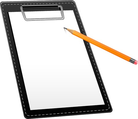 Clipboard and pencil over white. Vector