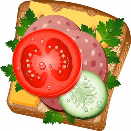 salame: Delicioso sanduíche no fundo branco.