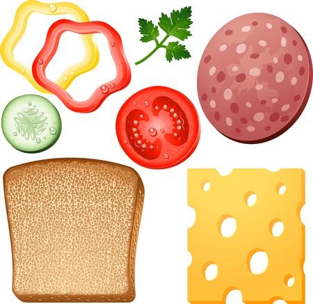 salame: Elementos sanduíche sobre o branco.