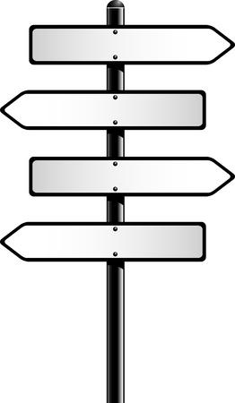 cruce de caminos: Las señales de dirección en blanco. Vectores