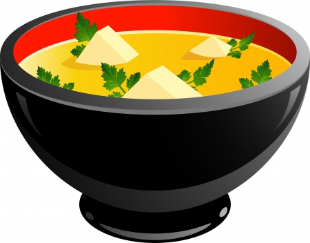 Bowl of soup over white