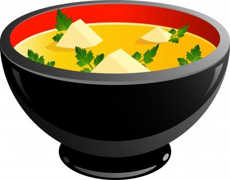 Tazón de sopa de sobre blanco. EPS 10