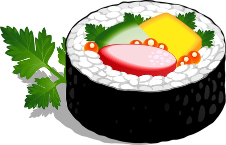parsley: Sushi Roll over white.  Illustration