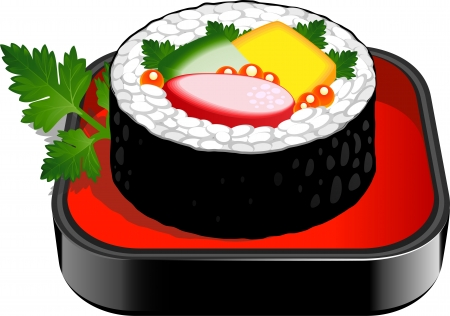 Sushi Roll over white  EPS 10 Vector