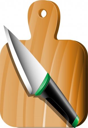cutting board: Cutting board and knife