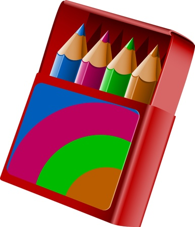 pencil box: Box of crayons over white.