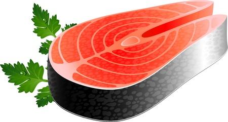 fish steak: Fish steak over white. EPS 10 Illustration
