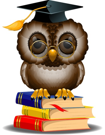 talon: Wise owl on a stack of books. EPS 10 Illustration