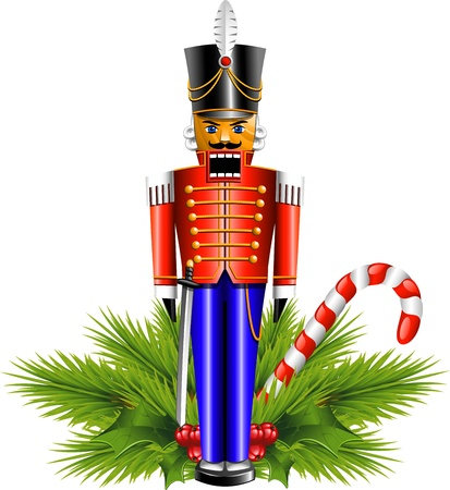 Nutcracker and a Christmas decoration.  Vector